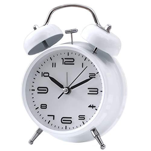 Seglory Reloj Despertador de Doble Campana con Luz Nocturna, Gran Esfera de 4 Pulgadas, Batería de Analógico Despertador de Cuarzo Retro Ruidoso, sin Tictac, Silencioso (Blanco)