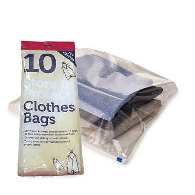 LAKELAND Store & Protect Zip Seal Clothes Bags, Pack of 10 - Protects from Moths and Dust (1)