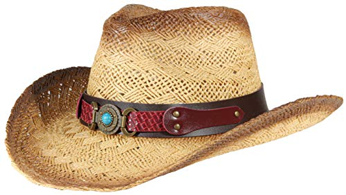 Western Outback Cowboy Hat Men's Women's Style Straw Felt Canvas (Stone Brown 3)