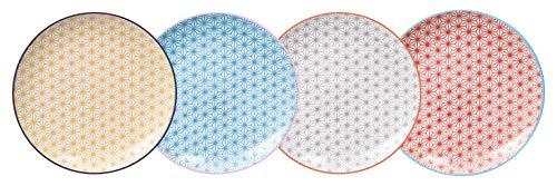 TOKYO design studio Star Wave 4-er Teller-Set bunt, Ø 25,7 cm, ca. 3 cm hoch, asiatisches Porzellan, Japanisches Design mit geometrischen Mustern