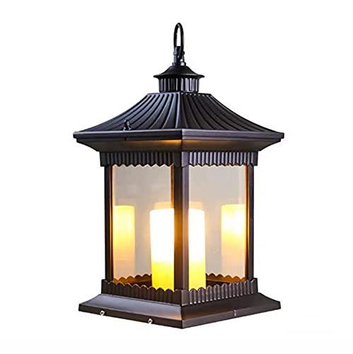 E27 Portable Decorative Wind Lamp Outdoor Courtyard Floor Palace Style Classical Column Head Candle Chinese Lawn Street Lights Villa Pillar Light Outdoor Decorative Lighting D20*H40cm