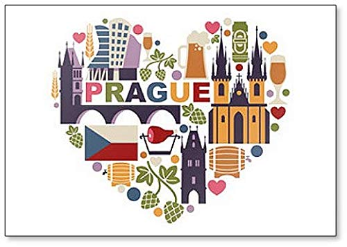 Imán clásico para nevera con diseño de corazón de Praga y República Checa