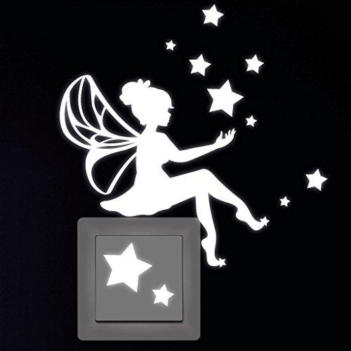 """Wandtattoo-Loft Leuchtaufkleber """"Kleine Elfe mit Sternen"""" für Lichtschalter oder Steckdose/Fluoreszierend und im Dunkeln Leuchtend"""