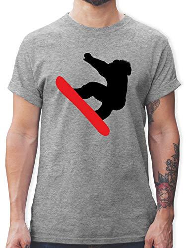 Wintersport - Snowboarder Schneebrett - M - Grau meliert - T-Shirt - L190 - Tshirt Herren und Männer T-Shirts