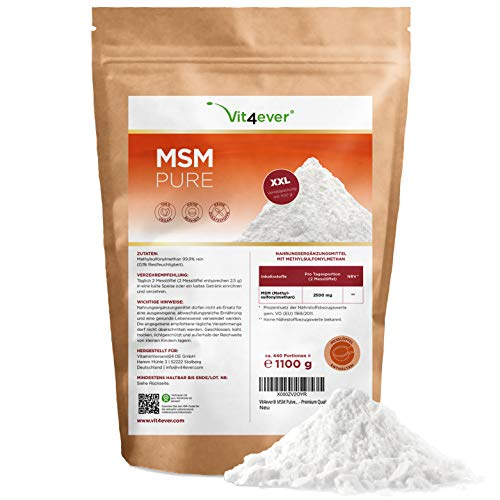MSM Pulver - 1,1 kg (1100g) - Preis-Leistungs-Sieger 2019* - 99,9% reines kristallines Methylsulfonylmethan - Meshfaktor 40-80 - Laborgeprüft - Organischer Schwefel - Vegan