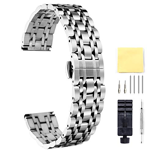 BINLUN 時計バンド 時計ベルト ステンレス鋼 腕時計ベルト 金属ベルト 交換用バンド ステンレスベルト 防水 男女通用 調整工具付き 6色 17サイズ 10mm~26mm(シルバー, 25mm