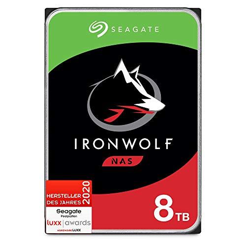 SeagateIronWolf, NAS interne Festplatte 8 TB, 3.5 Zoll, 7200 u/min, 256 MB Cache, SATA 6 GB/s, silber, inkl. Datenrettungs-Service, FFP, inkl. 3 Jahre Rescue Service, Modellnr.: ST8000VNZ022