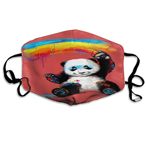 Luchtmasker voor volwassenen in regenboog en panda, masker voor volwassenen, wasbaar, herbruikbaar.