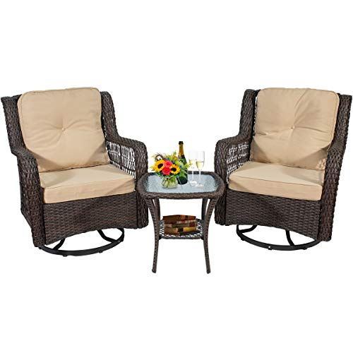 June Win 3 Piece Patio Wicker Rattan Bistro Furniture Set, Swivel Rocker Chair Set of 2,Bistro Garden Furniture Swivel Patio Chair with Glass Coffee Table and Cotton Cushions Brown