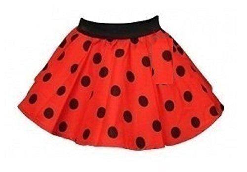 Meisjes Rood met Zwarte Vlekken Polka Dot Circulaire Rok leeftijd 5 tot 8 jaar