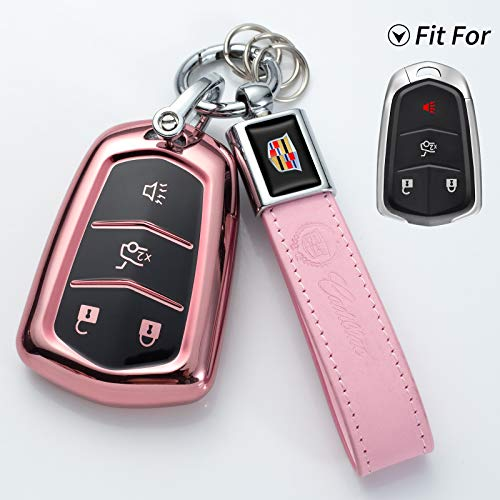 HYFQD Car Key Cover Suit for Cadillac,Key Fob Case for 2016 2017 2018 2019 2020 Cadillac Escalade CT6 XT5 CTS XTS SRX ATS DTS STS Accessories Soft TPU 360 Degree Full Protection Pink
