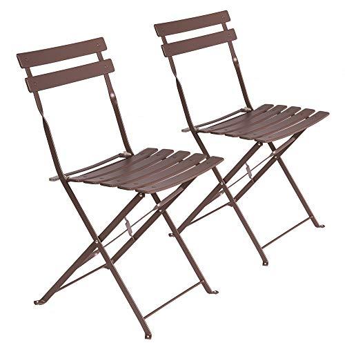 LOLAhome Set de 2 sillas de jardín Plegables con láminas Curvas de Acero Marrones de 80x46x41 cm