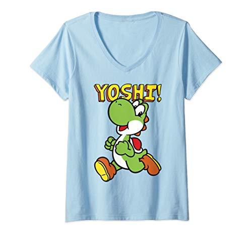 Women's Official Yoshi Super Mario V-Neck Tee, 8 Colors, M to 2XL