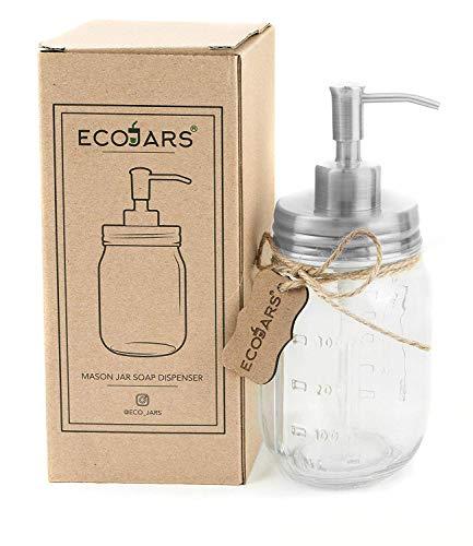 Eco Jar - Dispensador de jabón de plata, cristal, vintage, acero inoxidable, 500 ml, caja de regalo para inauguración de la casa,