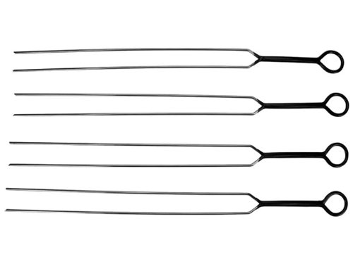 Doppelgrillspieße, 4 Stück, Edelstahl, 40 cm