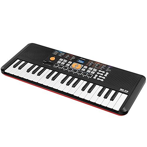 Donner 37 Tasten Tastatur Klavier, Portable Electronic Piano Digital Keyboard mit Touch Sensitive Key und Drum Pads für professionelle Anfänger, Leichtbau DEK-310 (Schwarz)
