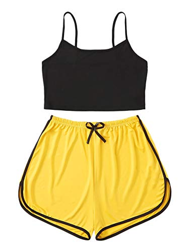 DIDK Women's Casual Spaghetti Strap Sleepwear Cami Top and Shorts Pajamas Set Multicolored L