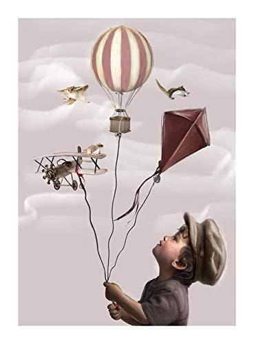 Xpboao Pintar por números DIY - Animales de fantasía en Globo aerostático - Kit de Pintura al óleo sobre Lienzo - para Adultos Niños Principiantes - 40x50cm - Sin Marco