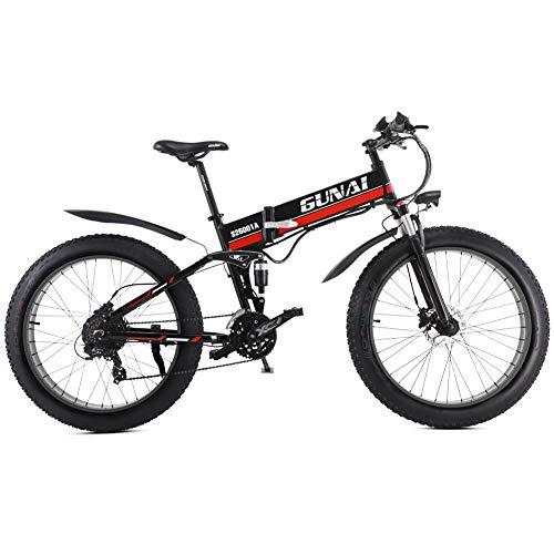 GUNAI Mountain Bike Elettrica, Bici elettrica 1000W Bici Montagna Ebike 21 velocità 26 'Full Suspension 48V12AH Pedali Assist(Black)