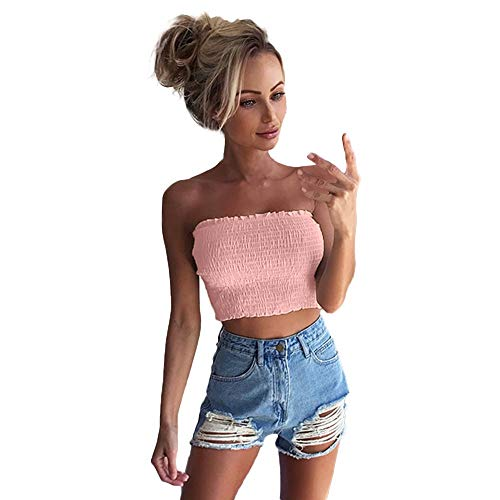 Women Breast Wrap Solid Strapless Elastic Boob Bandeau Tube Tops Bra Cami Crop Tops for Teen Girls (S, Pink)