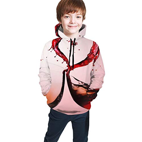 Youth Hoodie Sweatshirt, Red Wine with Love Realistic 3D Digital Printed Pullover Tops for Boys Girls 7-20 Years