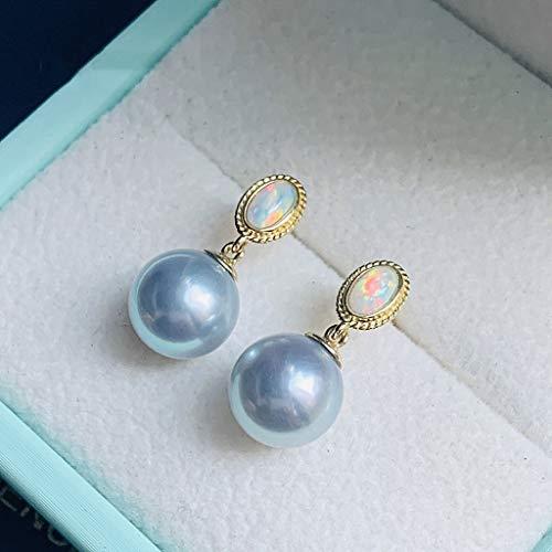 Aretes para mujer Pendientes de perlas Pendientes de plata gris azul agua de mar natural 18K de la manera elegante del todo-fósforo femenino accesorios de perlas 7-8mm Elegante Pendientes ( Size : M )