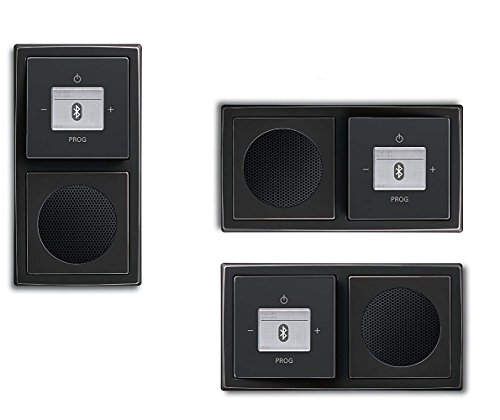 Busch Jäger Unterputz UP Bluetooth Radio 8217 U (8217U) Anthrazit Komplett-Set // Radioeinheit + Lautsprecher + 2-fach Rahmen 1722-181K + Abdeckungen