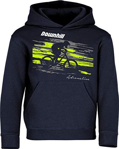 Kinder Pullover: Downhill Adrenaline - Hoodie Kapuzenpullover Pulli Fahrrad Geschenk-e Jungen & Mädchen - Radfahrer-in Mountain Bike MTB BMX Rad Outdoor Junge Kind Sport Geburtstag (Navy 152)