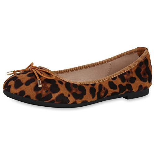 SCARPE VITA Damen Klassische Ballerinas Slip On Flats Animal Print Schuhe Slipper Freizeitschuhe 191466 Hellbraun Leo 37