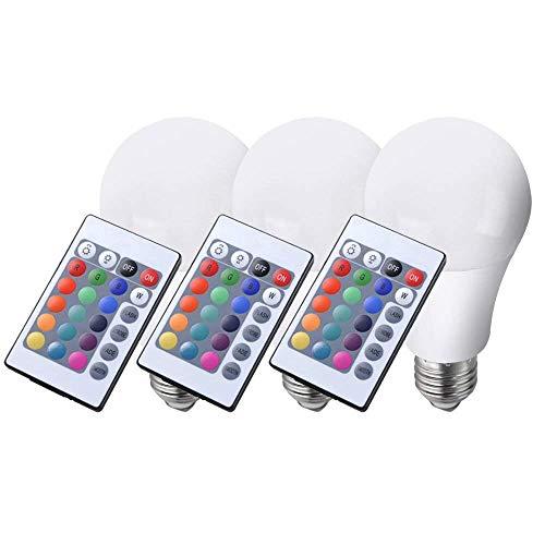 3er Set LED-RGB Farbwechsel Leuchtmittel inkl. Fernbedienung 7,5 Watt E27 Glüh Birne Lampe dimmbar
