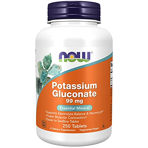 NOW Supplements, Potassium Gluconate 99mg, Easier to Swallow, Essential Mineral*, 250 Tablets