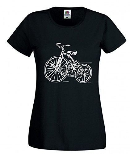 T-Shirt Dreirad- Jahrgang- Retro- Spielzeug- Kindheit- ZYKLUS- ANTIK- Trike- Nostalgie- FAHRT in Schwarz für Herren- Damen- Kinder