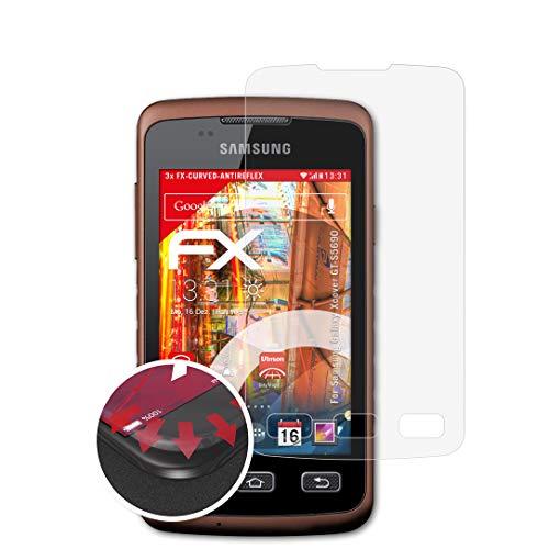 atFolix Schutzfolie kompatibel mit Samsung Galaxy Xcover GT-S5690 Folie, entspiegelnde und Flexible FX Displayschutzfolie (3X)