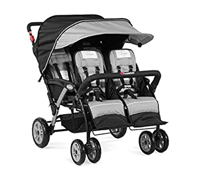Foundations Quad Sport 4-Passenger Folding Stroller with Canopy, Gray