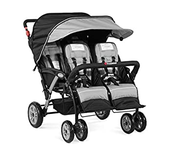 Foundations Quad Sport 4-Passenger Folding Stroller with Canopy Gray