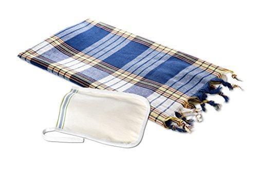 Carenesse Ensemble hamam comprenant 1 serviette de hammam à carreaux bleus et 1 gant exfoliant pour le festival.