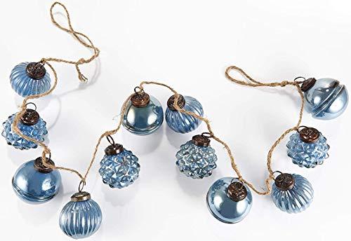 HEITMANN DECO Natale - Ghirlanda a Sfera di Vetro Blu - Ghirlanda Decorativa dell'albero di Natale - Decorazione Natalizia