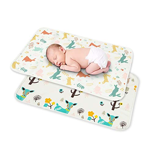 Catteyonce 2 Packs Large Diaper Changing Pad, Waterproof Portable Changing Mat Reusable, Perfect for Toddlers Infants and Newborns Boys Girls, 20 x 28 Inches