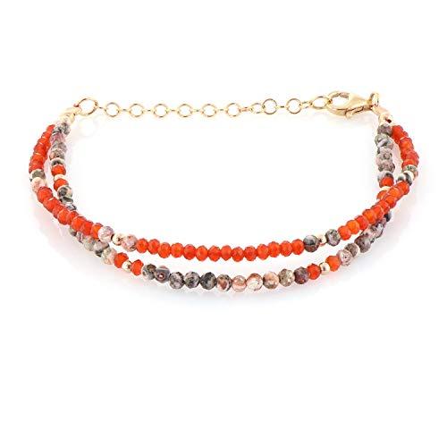 Pulsera de cuentas de 2 mm de cornalina, pulsera de cuentas de 2 capas, pulsera de cuentas de piedras preciosas, pulsera de jaspe de piel de leopardo, regalo de cumpleaños, pulsera de piedra naranja