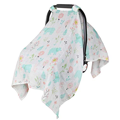Muslin Car Seat Canopy, Metplus Summer Carseat Cover Lightweight Breathable Infant Carrier Covers Newborn Swaddle Blanket Unisex Baby Shower, Extra Large 47.2 x 35.4 inch - Bear