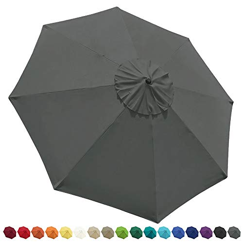 EliteShade 9ft Patio Umbrella Market Table Outdoor Deck Umbrella Replacement Canopy Cover (Canopy Only)(Grey)
