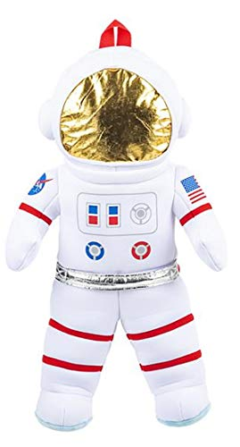 Plush Astronaut Travel and Adventure Toy Backpack (20 Inches) and Galaxy Space Stickers Bundle