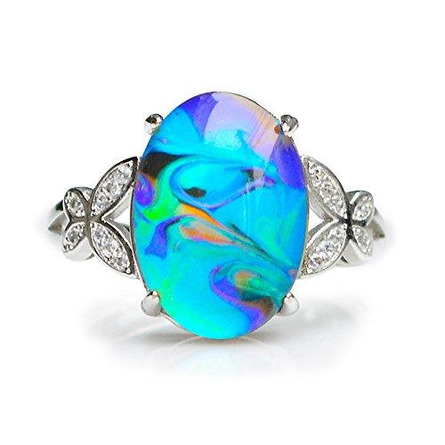 Fun Jewels Taille Ajustable avec Pierre Ovale Bague dhumeur en Argent Sterling Bruni Multicolore Change de Couleur