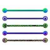 OUFER Piercing industrial para cartílago industrial de acero quirúrgico de 14 g, 5 unidades, color verde, morado y azul
