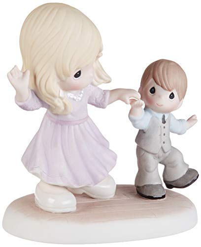 Precious Moments 193015 You Put A Positive Spin On Everything Mother and Son Dancing Bisque Porcelain Figurine, One Size, Multicolor