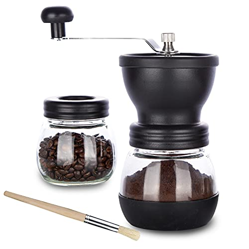 PARACITY Manual Coffee Bean Grinder, Hand Coffee Mill with 2 Glass Jars Ceramic Burr Stainless Steel Handle for Drip Coffee, Espresso, French Press, Turkish Brew