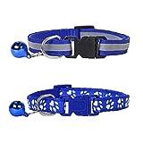 Lidiper 2 Piezas Collar Gato, Collar Reflectante Gatos Collares para Gatos con Cascabeles Ajustable 19-32cm Azul