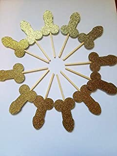 Glitter penis cupcake toppers