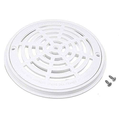 """Angzhili Pool Main Drain Cover,The top Grate(7.23"""")+Bottom mounting Plates(8""""),White Replacement Pool Drain Cover with Screws,Pool Outlet Cover Swimming Pools Accessary"""
