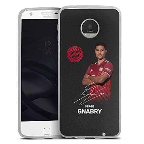 DeinDesign Silikon Hülle kompatibel mit Lenovo Moto Z Play Hülle transparent Handyhülle FC Bayern München Gnabry Offizielles Lizenzprodukt